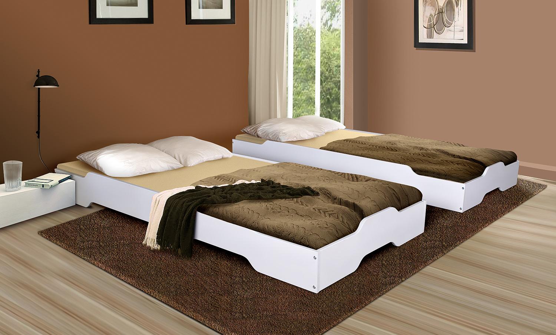 Gästebett Stapelbett Bett - MIA - 90x200 Kiefer Massiv Weiss ohne ...