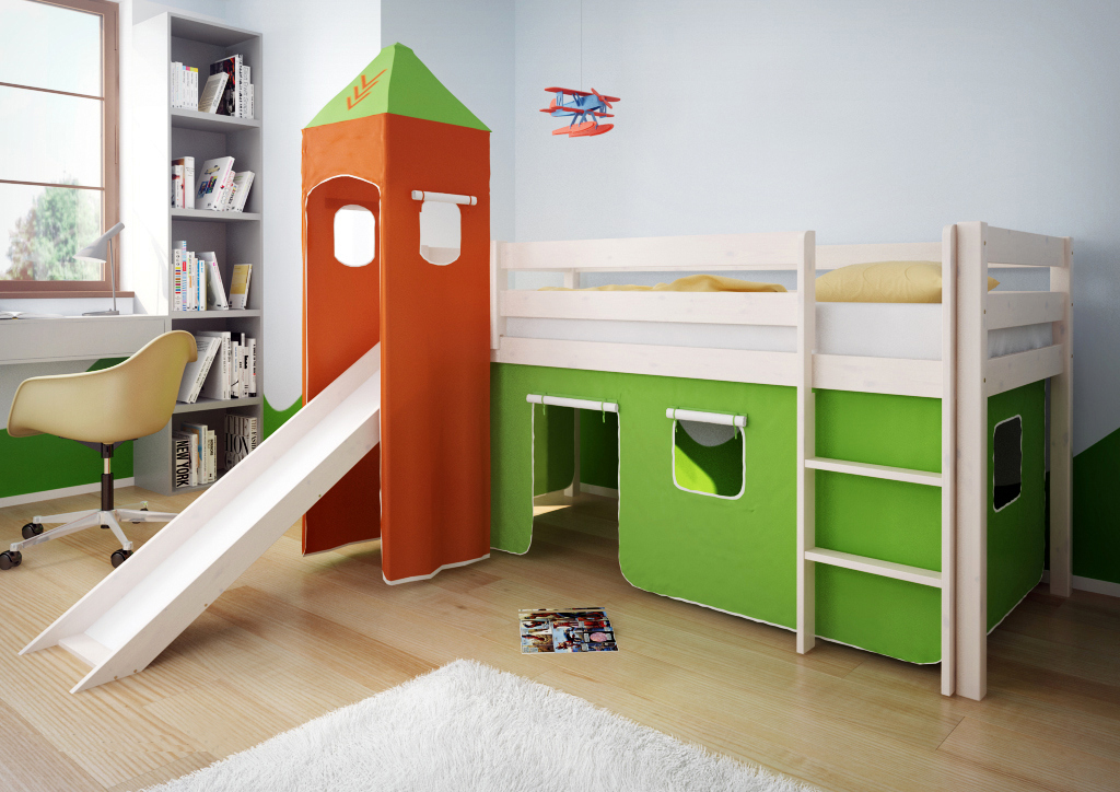spielbett hochbett lilly mit rutsche kiefer massiv m rutsche rollrost ebay. Black Bedroom Furniture Sets. Home Design Ideas