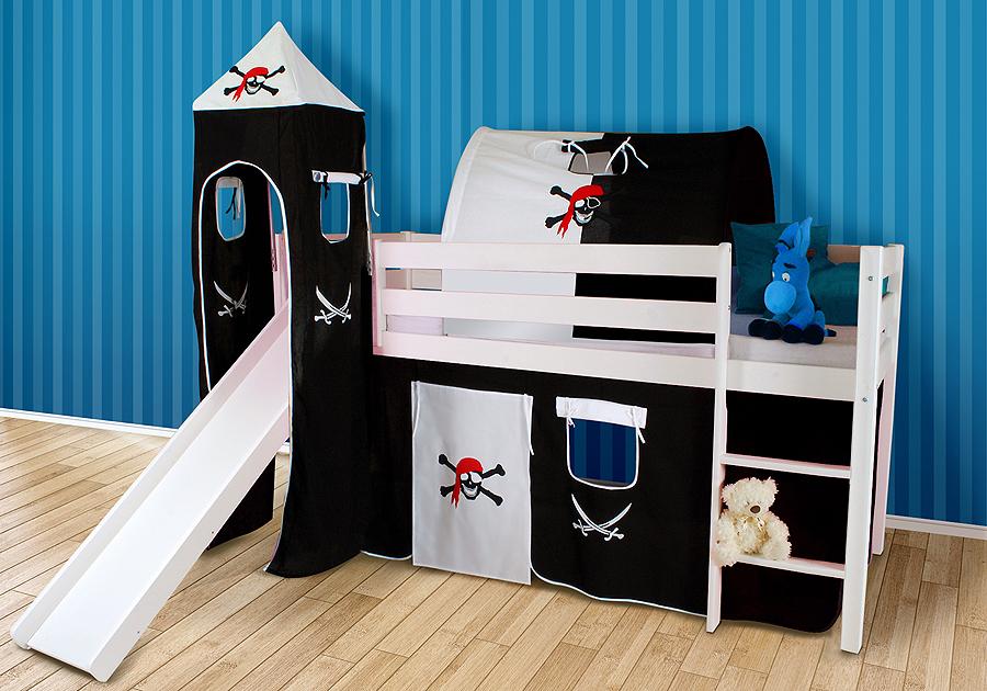 spielbett hochbett marco kiefer massiv weiss mit rutsche ohne rollrost lenando. Black Bedroom Furniture Sets. Home Design Ideas