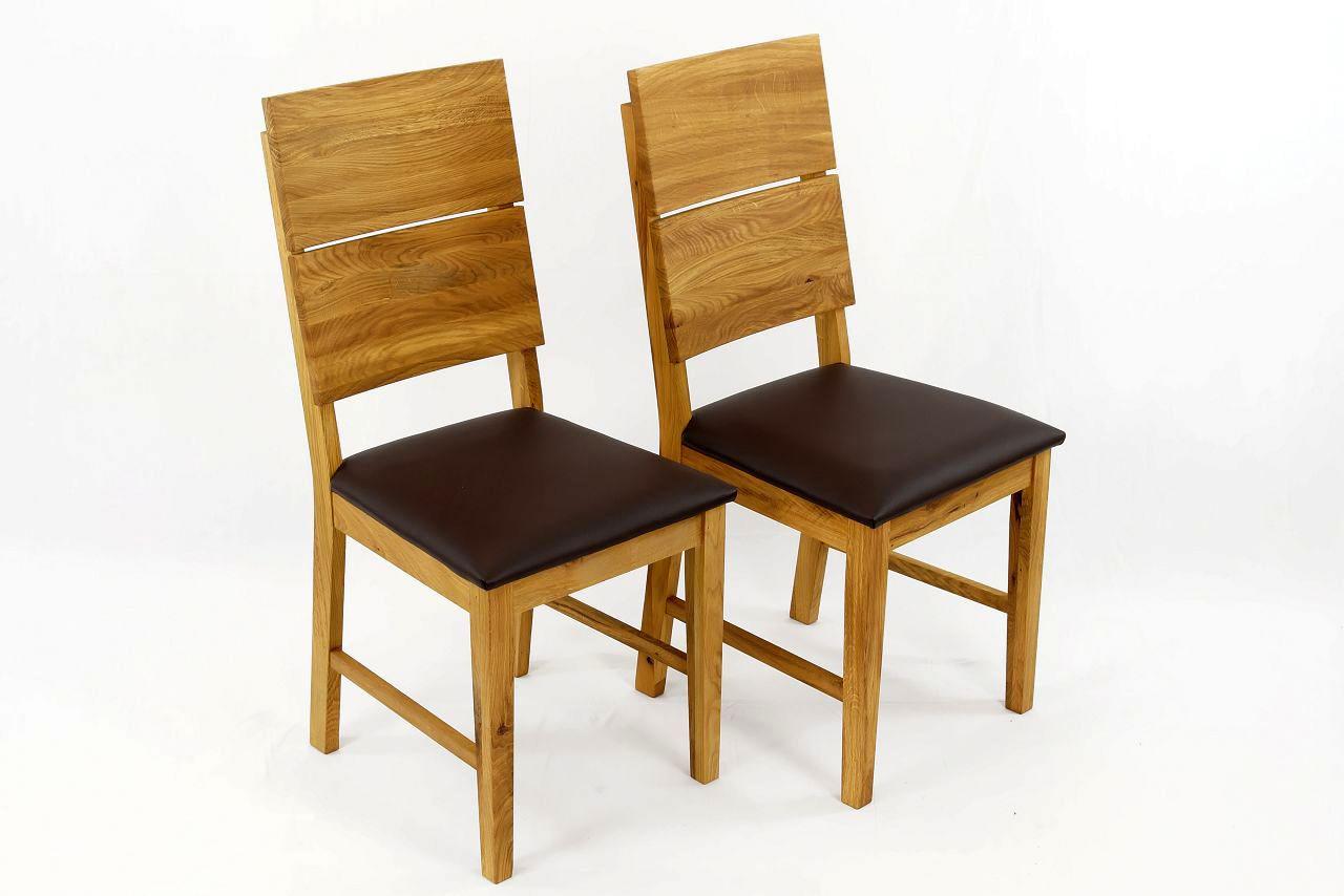 esszimmerst hle st hle 2er massivholz eiche ge lt leo leder braun ebay. Black Bedroom Furniture Sets. Home Design Ideas