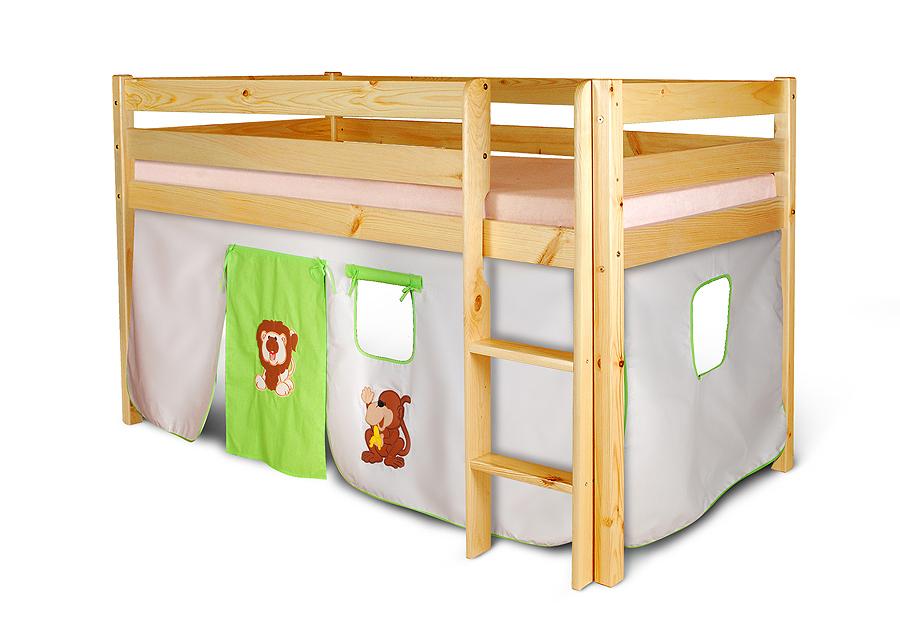 vorhangset affe l we elfenbein gr n f r hochbet spielbett etagenbett ebay. Black Bedroom Furniture Sets. Home Design Ideas