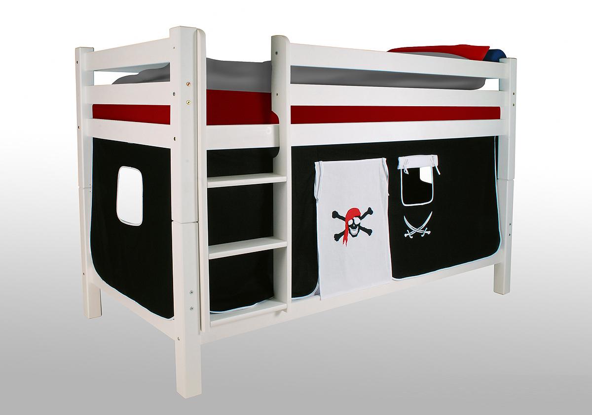 vorhangset pirat schwarz wei f r hochbet spielbett etagenbett ebay. Black Bedroom Furniture Sets. Home Design Ideas