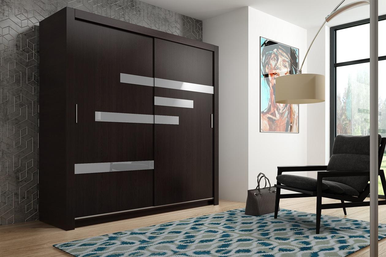 Armoire avec portes coulissantes armoire emil sonoma mat - Porte coulissante verre noir ...