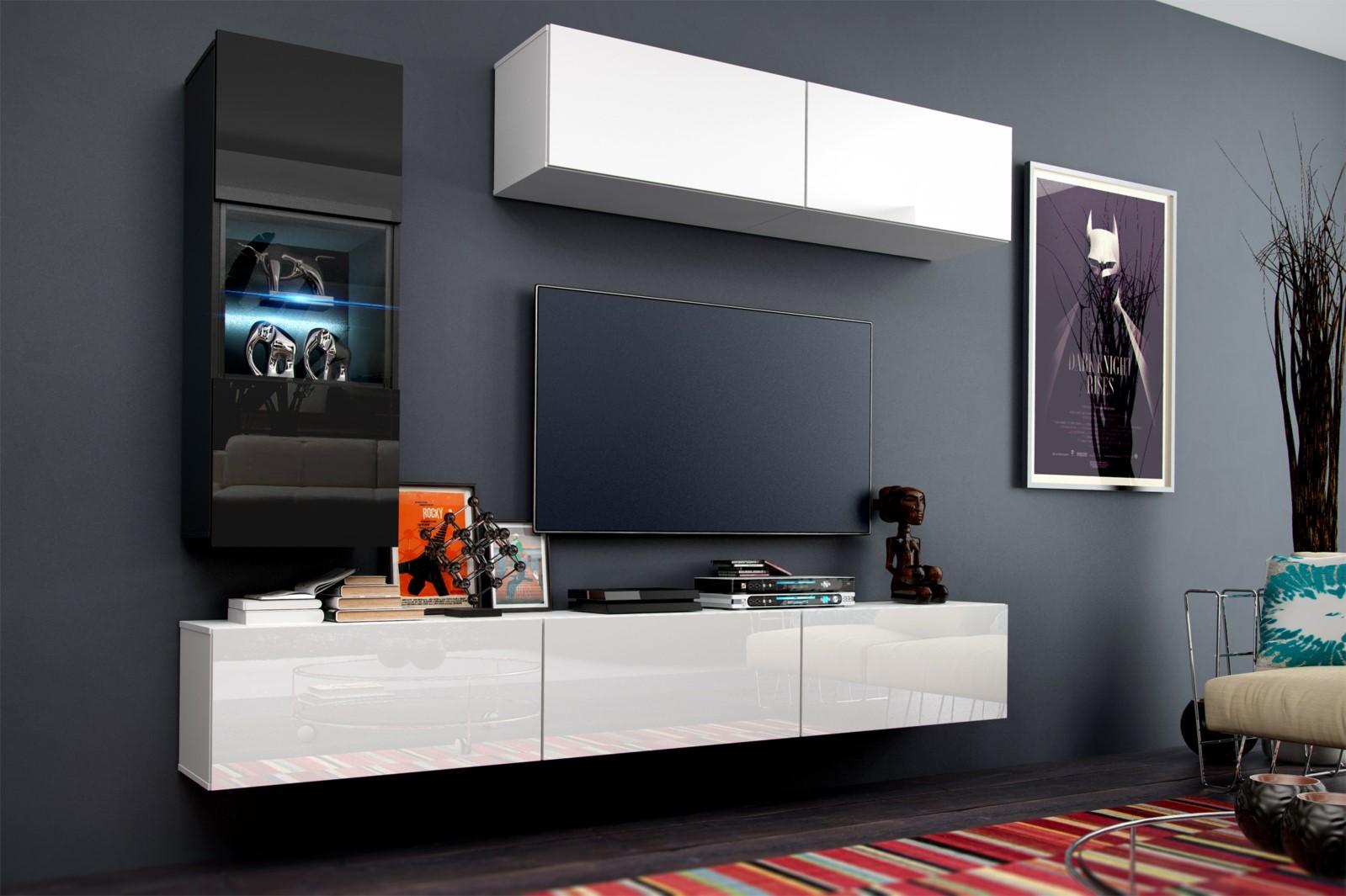 Mediawand Wohnwand 6 Tlg   Konzept 12   Weiss HGL Mit LED Beleuchtung