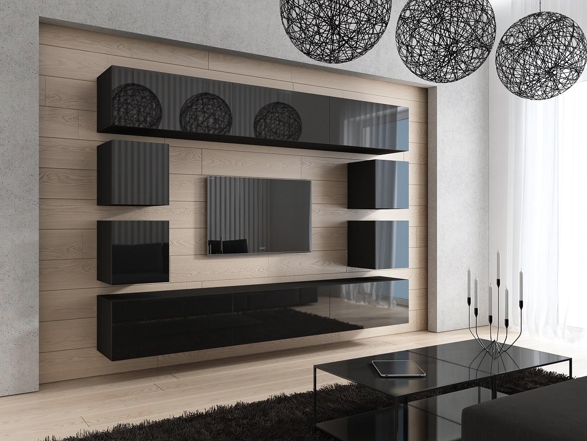 Mediawand Wohnwand 10 Tlg   Konzept 17   Schwarz Matt | EBay