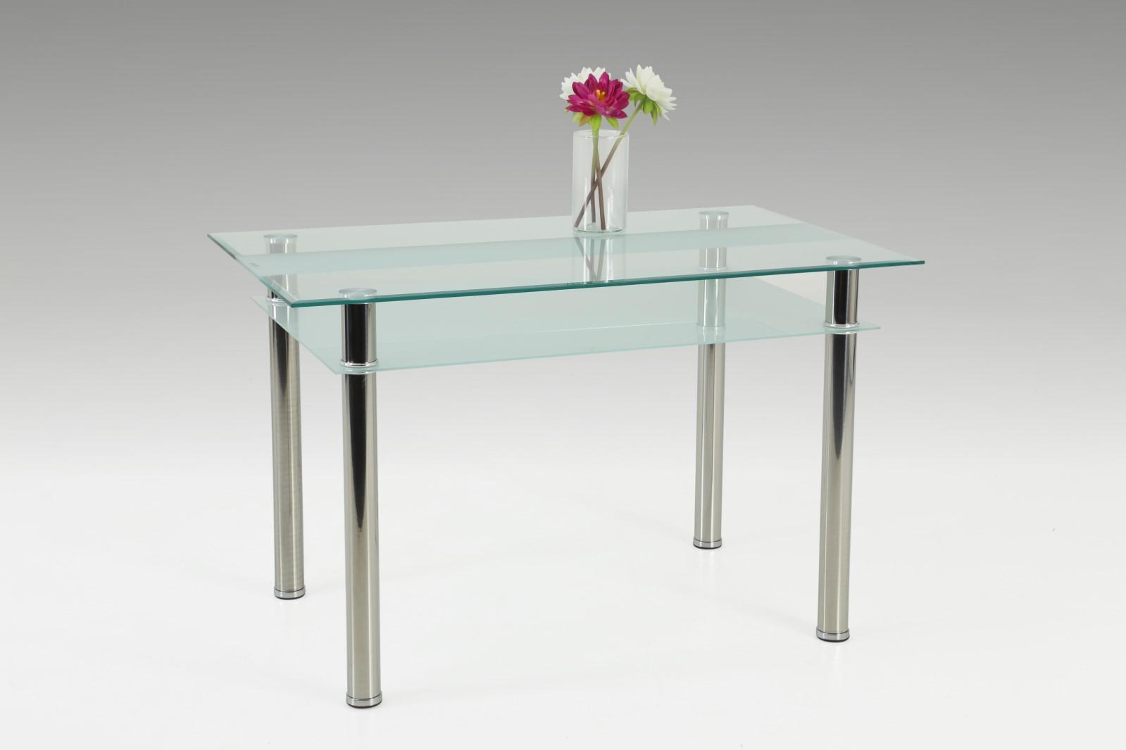 Esstisch Tisch - Sorbon 2 -  Vierfußtisch  120 x 70 cm  Klarglas / Chrom