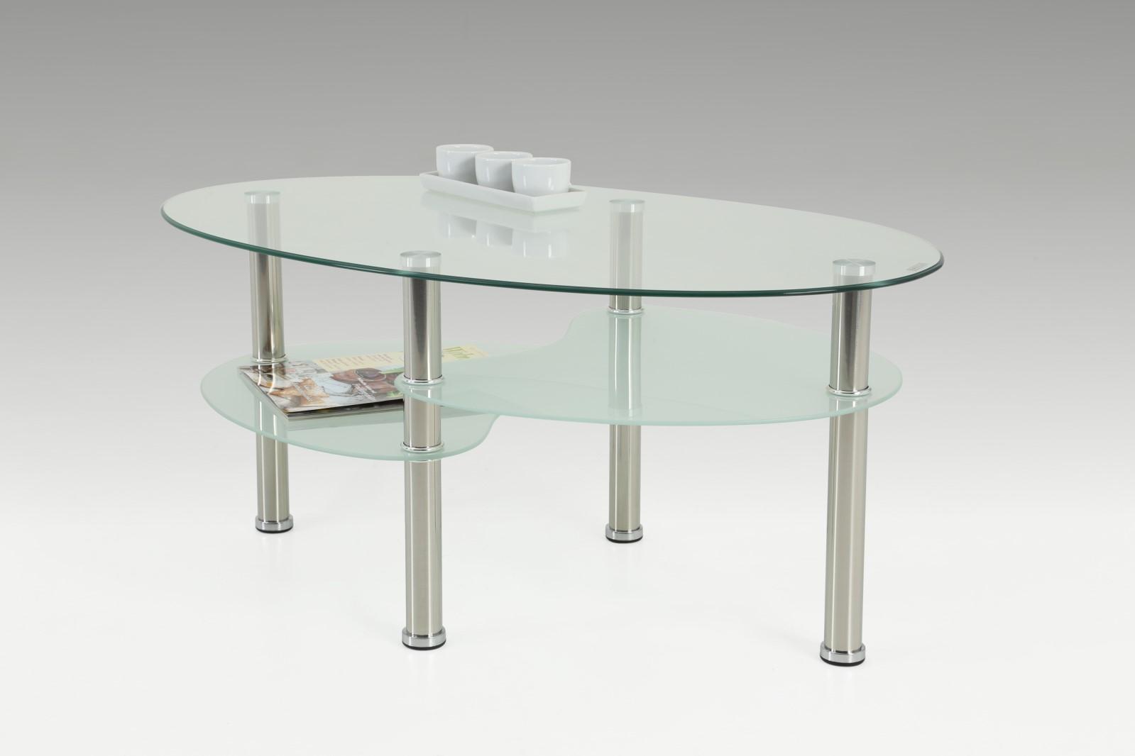 Couchtisch Beistelltisch - Saly - 90x55 cm Klarglas / Chrom