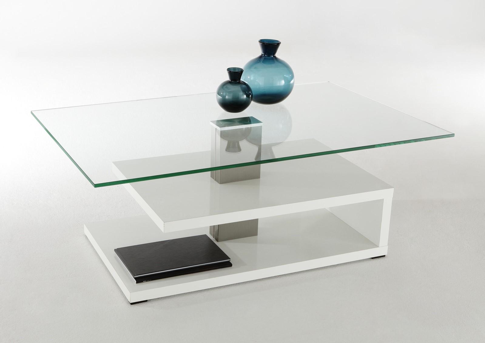 Couchtisch Wohnzimmertisch Beistelltisch - Stenli - 110x70 cm Weiß Glanz