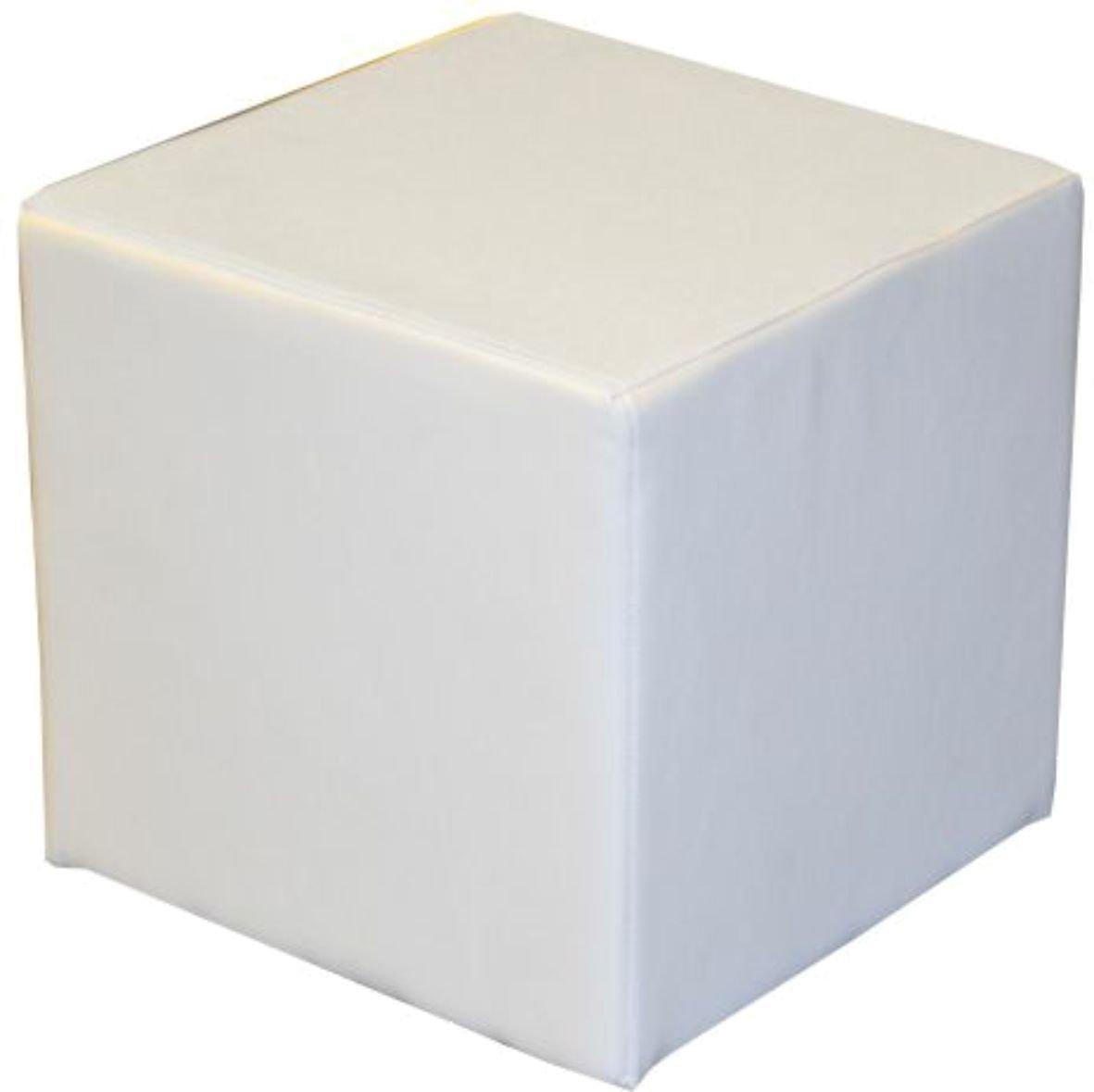 Sitzwürfel Sitzhocker Schminkhocker Hocker Sessel Kunstleder Weiß 45x45 cm