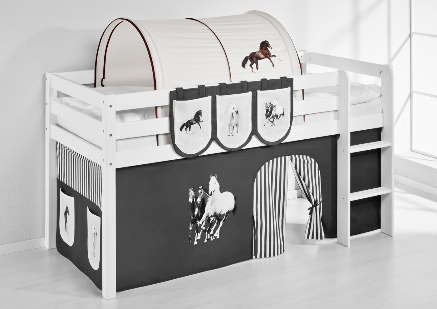 hochbett etagenbett l form larno buche massiv weiss inkl regal 791954167597 ebay. Black Bedroom Furniture Sets. Home Design Ideas