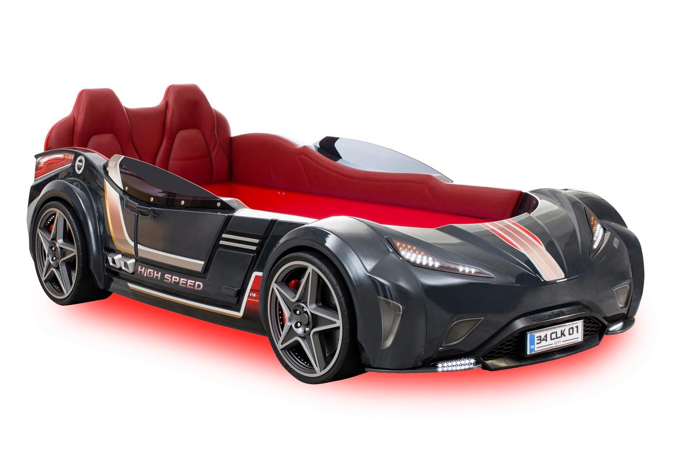 Autobett Kinderbett  -Racer-Anthrazit inkl. MP3 Player und Beleuchtung