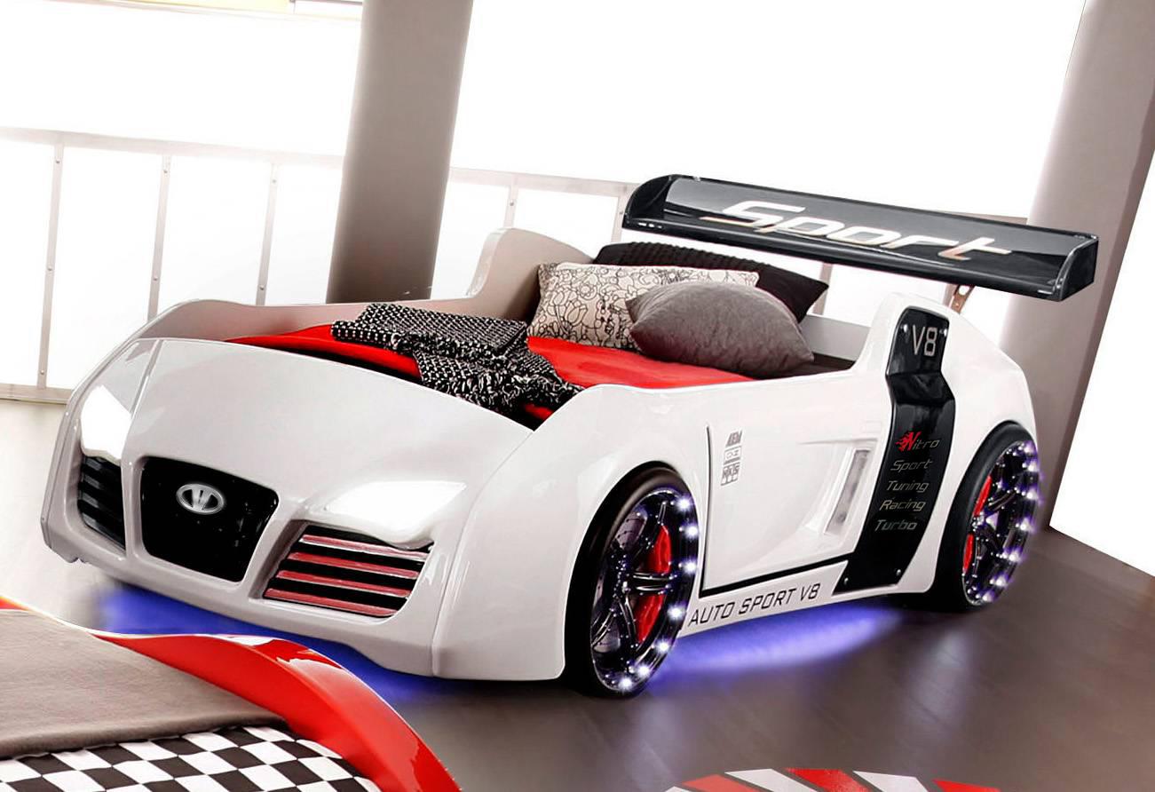 Kinderbett auto weiss  Autobett Kinderbett - Formel GT - Weiss inkl.Beleuchtung | eBay
