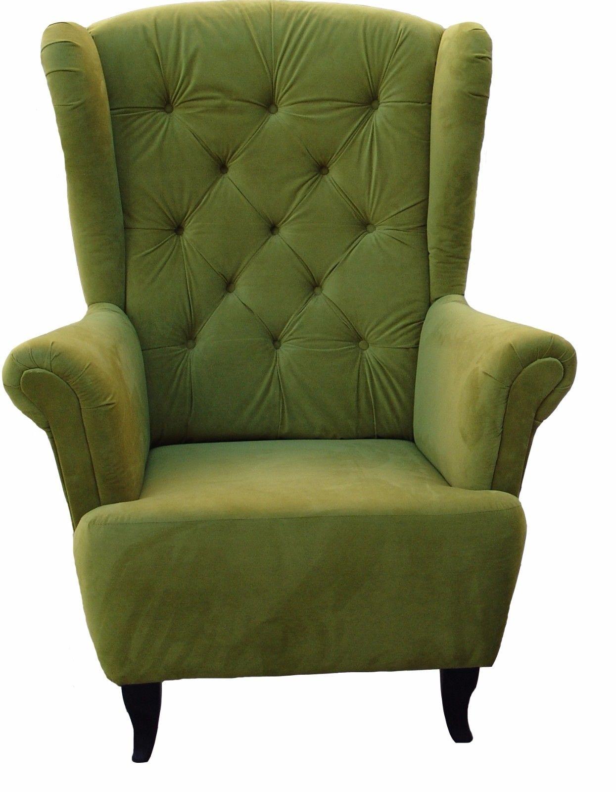 sessel ohrensessel wohnzimmersessel orlando webstoff weiss ebay. Black Bedroom Furniture Sets. Home Design Ideas