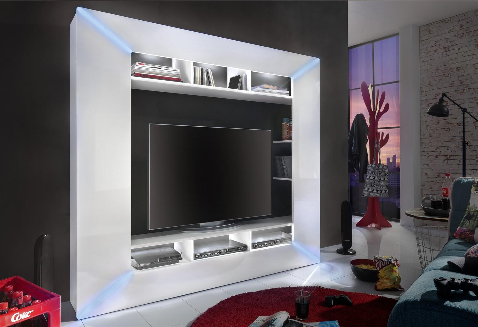 Mediawand Wohnwand   FINLEY   Hochglanz Weiss Inkl. LED Beleuchtung | EBay